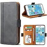 iPhone 7 Hülle, iPhone 8 Hülle, Bozon Leder Tasche Handyhülle Flip Wallet Schutzhülle für iPhone 7/ 8 mit Ständer und Kartenfächer/ Magnetic Closure (Dunkel-Grau)