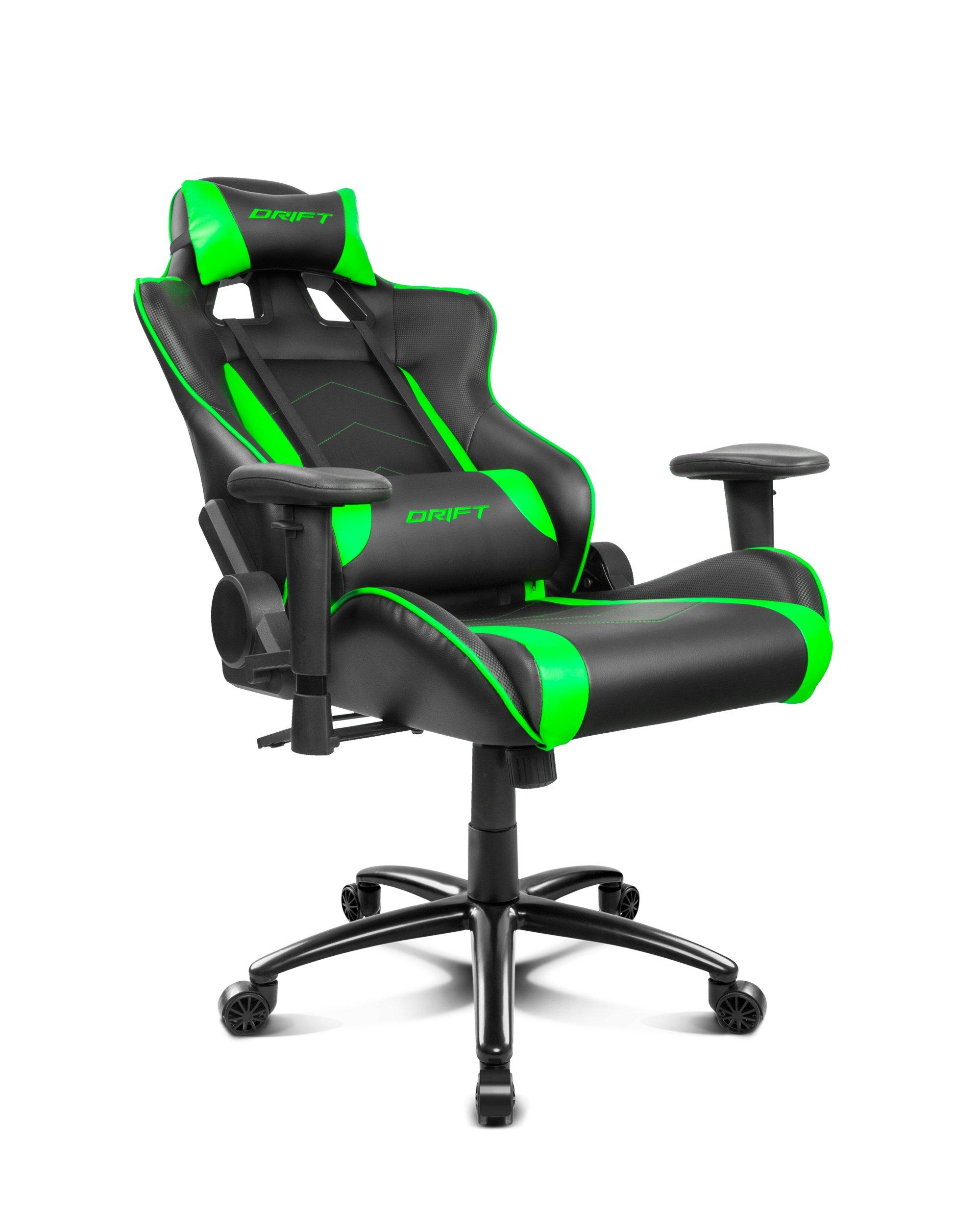 Drift DR150BG – Silla Gaming Profesional, (Poilipiel Alta Calidad, Ergonómica), Color Negro/Verde