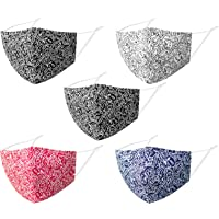 Reusable Face Covering Cotton Washable Men Women, 5 Pack Adjustable Breathable Funky Fabric, 3D Designer Material Facial…