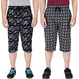 FEEL TRACK Men Cotton Casual Three-Fourth Shorts Multicolor