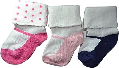 Footprints Super soft Organic cotton socks- Pack of 3 - Girls Folded - Pink, Baby Pink, Black