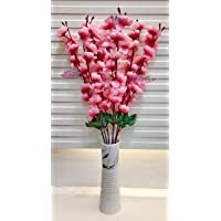 ARTSY® Artificial Flowers for Home Decoration Cherry Blossom Bunch (Light Pink,1 Piece) Office Decor | Without Vase|