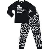 """Pijama largo de algodón con texto en inglés """"Eat Sleep Football Repeat"""" para niños"""