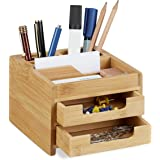 Relaxdays Organiseur de bureau bambou distributeur de bureau porte-stylos 2 tiroirs HxlxP: 9,5 x 12,5 x 15 cm, nature