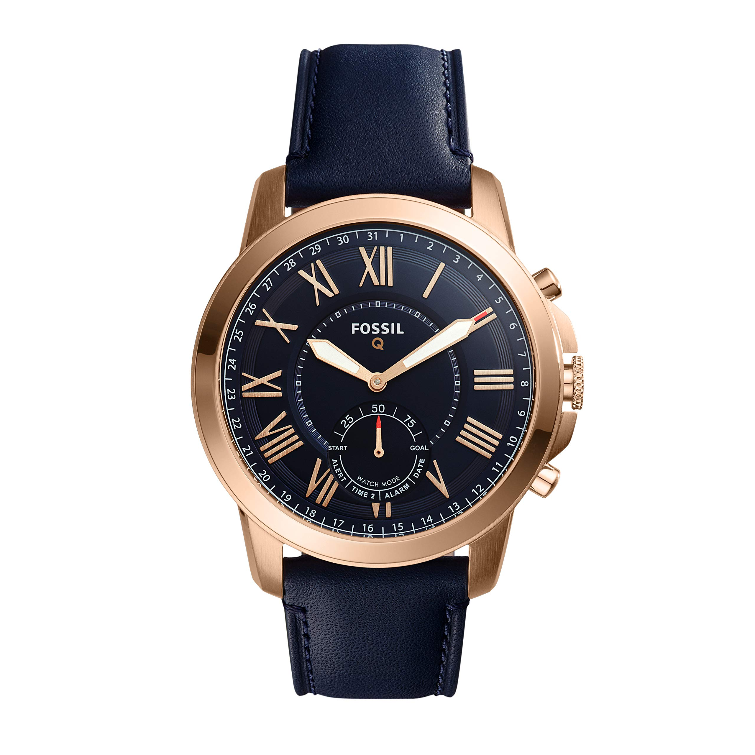Fossil Q Mens Grant Stainless Steel And Leather Hybrid Smartwatch Color Rose Gold Tone Blue Model FTW1155