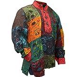 SHOPOHOLIC FASHION Mens Summer Colourful Grandad Hippie Shirt