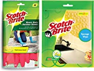 Scotch-Brite Heavy Duty Gloves (Medium)(Red) & Sponge Wipe, Pack of 3 (Color May Vary) Combo