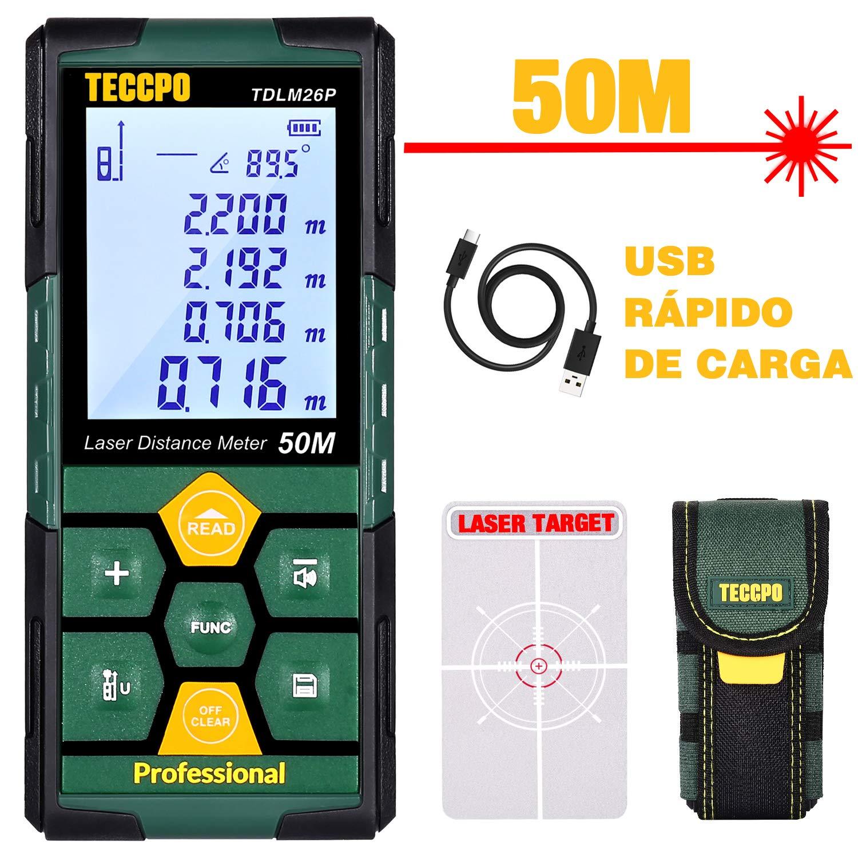 "Telémetro láser 50m, USB 30mins Carga rápida, TECCPO Medidor Láser, Electrónico Ángulo Sensores, 99 Datos, 2.25"" LCD Retroiluminación, Medición de distancia, Área, Volumen, Trípode, IP54, TDLM26P"