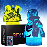 2 Patterns 16 Color Change Naruto Sasuke 3D Anime Lamp - Naruto Toys Night Light for Kids Room Decor with Remote Timer, Boys