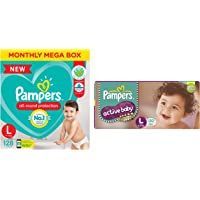 Pampers Baby Dry Pants Diapers Monthly Mega Box, Large, 128 Count & Pampers Active Baby Diapers, Large, 50 Count