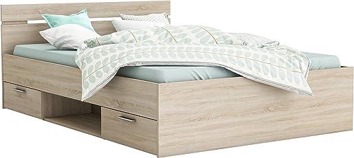 Demeyere Michigan Bett 160X200 Cm, 2 Schubkasten, 1 Nische, Ohne Latte,  Spanplatte