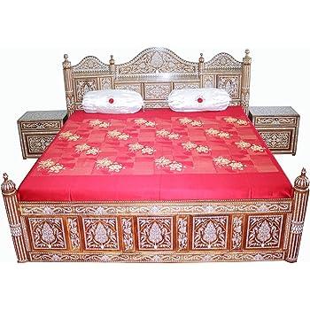 Ambience Arts Royal Maharaja King Size Double Bed(Brown)