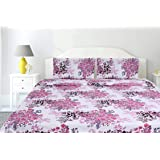 haus & kinder Greek Garden Romance, 100% Cotton Double Bedsheet with 2 Pillow Covers King Size 144 TC (Pink)