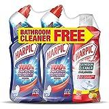 Harpic Toilet Cleaner Liquid Limescale Remover, Original, 750 ml, Pack of 2 and Bathroom Cleaner, Lemon, 500 ml