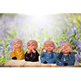 TRUESTAR Set of 4 Polyresin Laughing Buddha Statue for Home Decor, (Multicolour)