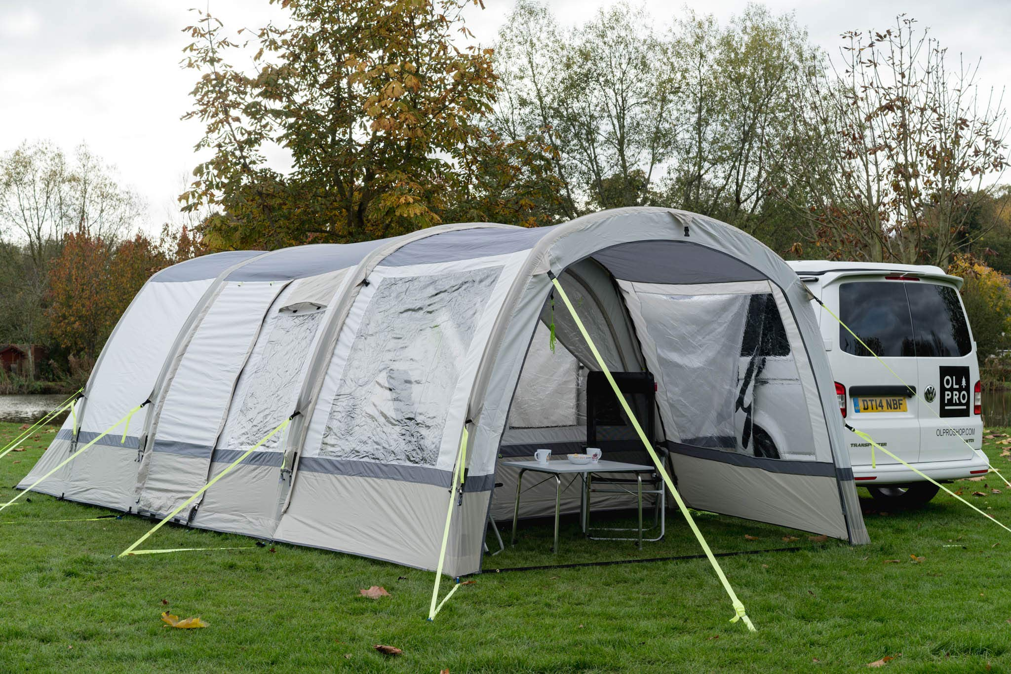 OLPRO Outdoor Leisure Products Cocoon Extension 3.5m x 1.8m Inflatable Drive Away Campervan Awning Porch Extension for Cocoon Breeze Sage Green & Chalk 2