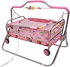 Tender Care Baby Printed Cradle Swing Baggi Jhula Iron Body (Pink)