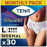 TENA Sihouette, arge, voor matige slechte zwakte, Monthy Pack van incontinentie slipje voor vrouwen, wit, L, 30 stuks (30 stu