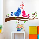 Prodecals Wall Sticker for Living Room Floral Branch with Love Birds (Wall Covering Area : 75 X 55 cms, Multicolour)