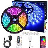Bluetooth LED Strip, ALED LIGHT 5050 Waterdicht 16.4Ft 5M 150 LED Stripes Light Smart Phone Controlled RGB Light Hoses LED Li