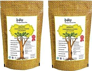 O4U Colourless Henna leaf powder for hair colour/organic colourless henna powder for Shiny, Healthy, Thick hair - set of 2 (100 gm + 100 gm)