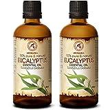 Huile Essentielle Eucalyptus 200ml (2 x 100ml) - Eucalyptus Globulus - Huile Essentielle 100% Naturelle & Pur - pour Aromathé
