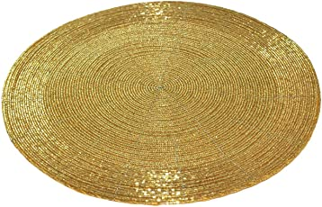 "H & W Decorative Handmade Beaded Golden Round Placemat Perfect for Dining Table (30 cms, Dia - 12"", Pack of - 1)"