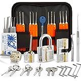 Eventronic 30+4 Lock Pick Set, 30-delige Lock Picking Tools met 4 transparante trainingssloten en handmatige en ritskoffer vo