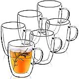 KADAX Tasse à double Paroi, Tasse en verre, 270 ml, Verre thermique, Verre à Thé, Café, Boisson, Thé glacé, Cappuccino, Verre