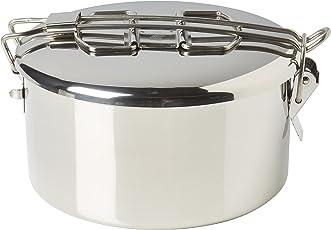 """ZEBRA Lunchbox / Bushcraftpfanne """"Billy Pan"""", aus Edelstahl, mit Einsatz, ca. 1,2L - 14cm x 8cm"""