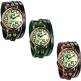 JewelryWe Luxury Vintage Pulsera de Cuero Reloj Hombres Mujeres Reloj de Pulsera Ladies Dress Cuarzo Relojes