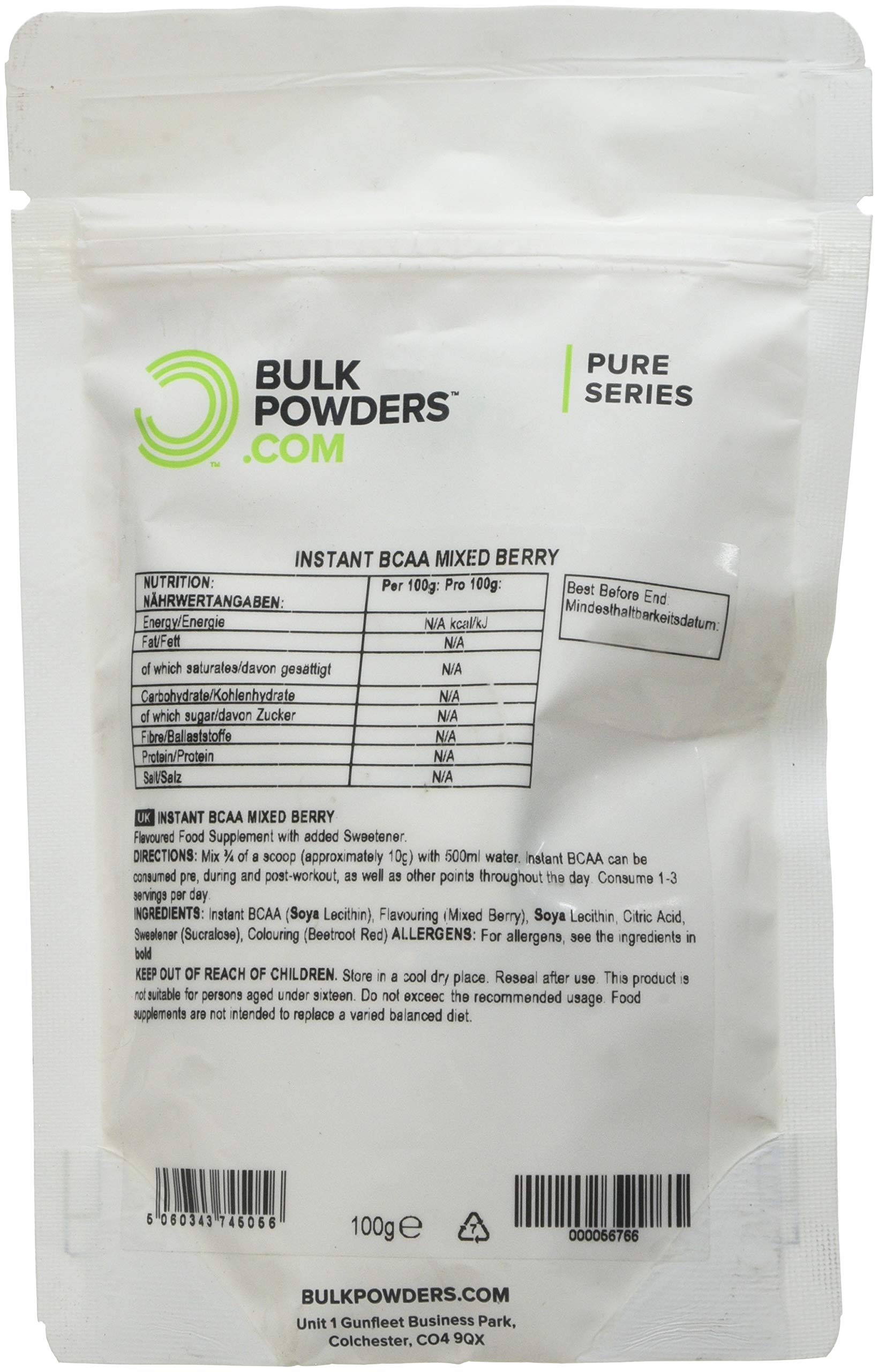 81OVi7qdJGL - BULK POWDERS Pure Instant Branched Chain Amino Acids (BCAA) Powder, Mixed Berry, 100 g
