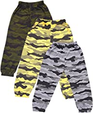T2F Boy's' Cotton Army Printed Track Pant Pack of 3