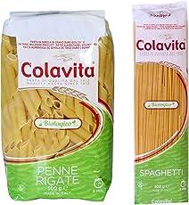 Colavita Pasta Penne 500g and Spaghetti 500g -Organic Durum Wheat (Combo Pack of 2)