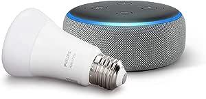 Echo Dot (3ª generazione, tessuto grigio mélange) + Philips Hue White Lampadina LED Connessa, Attacco E27, Dimmerabile, Luce Bianca Calda