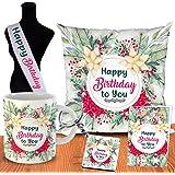 ODDCLICK Polycotton 100TC Cushion Cover with Filler, Printed Coffee Mug, Greeting Card, Key Ring, 12x12 inch, 1 Happy Birthda