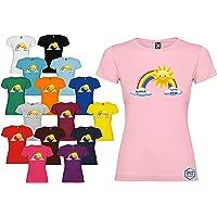 T-shirt donna personalizzata Andrà Tutto Bene maglietta Arcobaleno vari colori