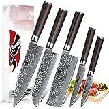 XINZUO 5 Pcs Damas Cuisine Couteau Ensemble Nakiri Tranchage Martelé Forge Damas Couteau de Cuisine Très Sharp Chef Couteau P
