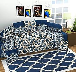 Gurnoor 3D Printed Jaipuri Diwan Set(Blue)(Set of 8)