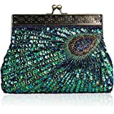 Vintage Clutch Sequin Teal Peacock Unusual Antique Beaded Sequin Evening Handbag Women's Fashion Designer Elegant Purse