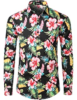 Mens Shirts Floral Printed Fancy Dress Shirts Holiday Beach Button Down T Shirts