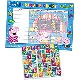 Paper Projects 01.70.30.021 Peppa Pig belöningstavla för dagligt bruk och 56 glittrande, återanvändbara klistermärken