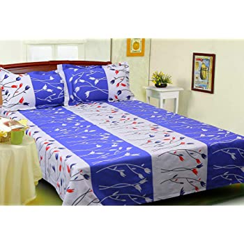 KITEX Duo   180 TC 100% Cotton Floral Print Single Bedsheet With 2 Pillow  Covers