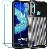 ivoler Fodral till Motorola Moto G8 Power Lite + 3-pack skärmskydd i härdat glas, kolfiberdesign stötdämpande stötskydd, smal