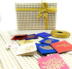 Satyam Kraft Gift Wrapping Stripes Golden Colour Paper, Envelope Making,Card Making, Scrapbooking And Multipurpose Creative Uses - (Pack Of 10)