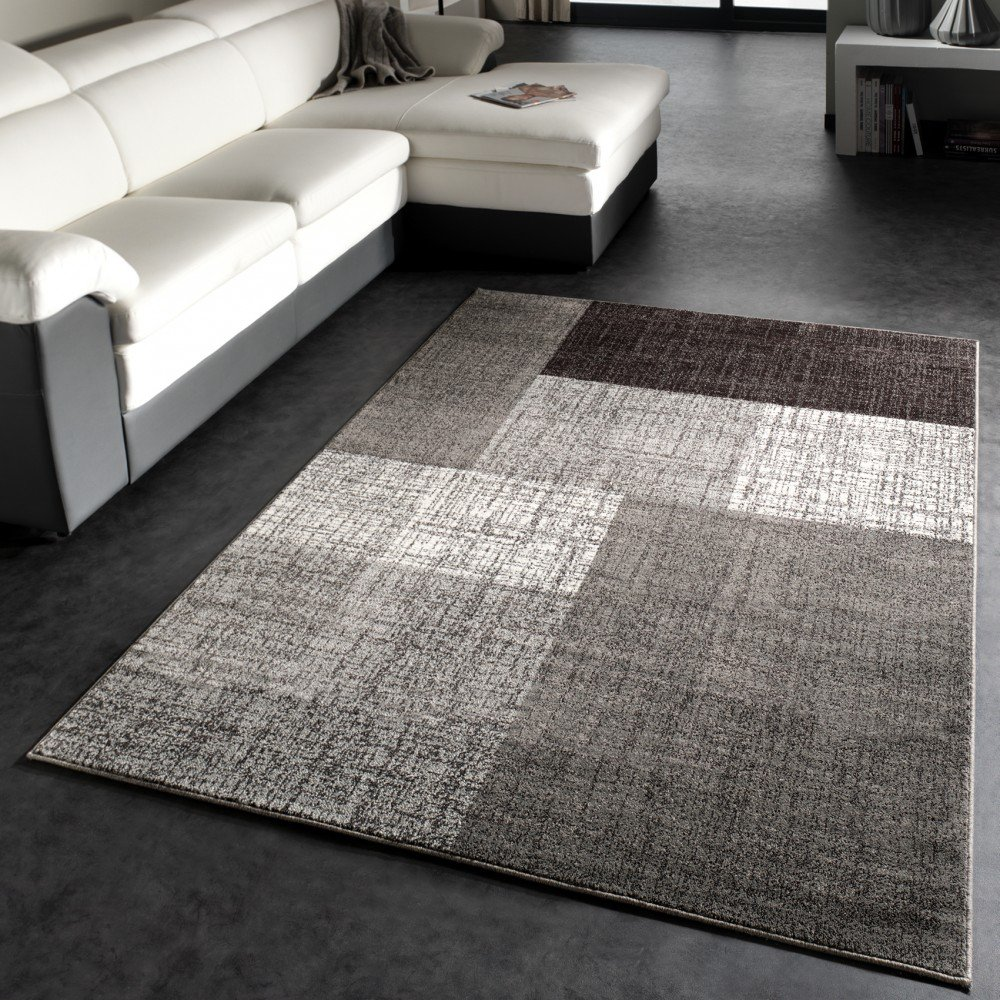 Teppich grau  Designer Teppich Modern Kariert Kurzflor Design Meliert In Grau ...