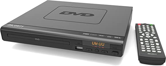 Majority Scholars kompakter DVD-Player, Verschiedene Regionen 1/2 / 3/4 / 5/6, USB-Port, Fernbedienung, Cinch-Kabel für TV-Anschluss, Div X, HDMI-Port, Koaxial-Port (Schwarz)