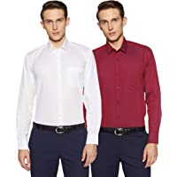 Amazon Brand - Symbol Men's Solid Regular Fit Full Sleeve Formal Shirt (Combo Pack of 2)