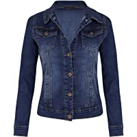 shelikes Women's Jackets Casual Summer Jacket Mid Wash Denim Long Sleeve Button Up Slim Fit Jean Jacket With Collared…