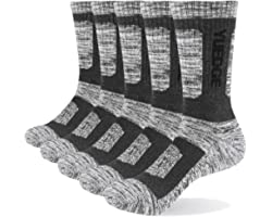 YUEDGE 5 Pairs Mens Cushion Cotton Crew Thick Thermal Warm Wicking Work Socks Calf Golf Socks 6-11